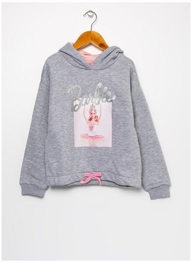 Barbie Barbie Baskılı Gri Melanj Kız Çocuk Sweatshirt Gri